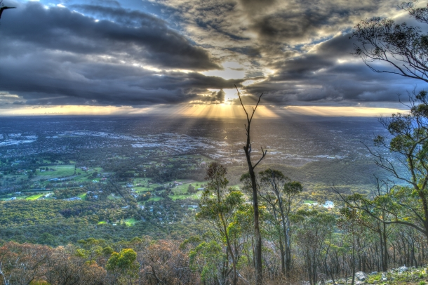 View from the Dandenong Mountains in the winter